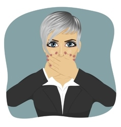 Scared young business woman vector image