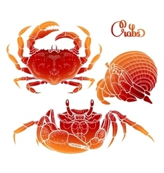 Graphic crab collection vector