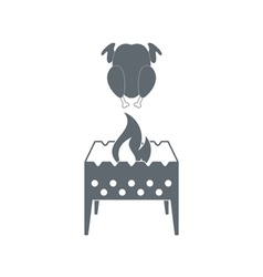 Brazier with chicken icon vector