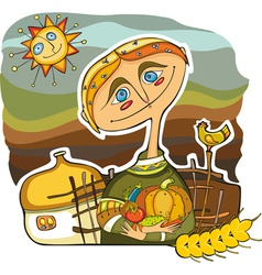 Man farmer crop vector