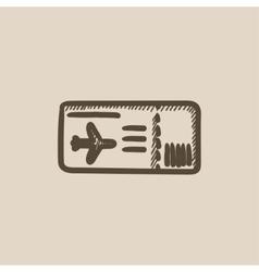 Flight ticket sketch icon vector