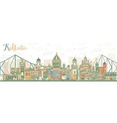 Abstract kolkata skyline with color landmarks vector