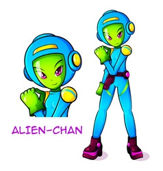 Alien space kid vector