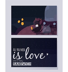 All you need is love and a tasty sandwich vector