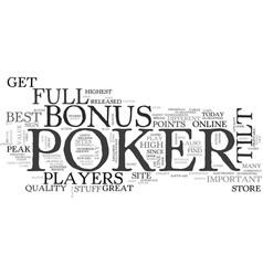 best bonus for online poker full tilt poker bonus vector image vector image
