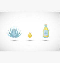 Blue agave syrup flat icons set vector