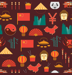 cartoon chinese culture and tourism background vector image