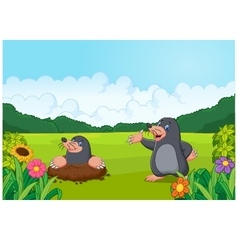 Cartoon happy mole in the forest vector