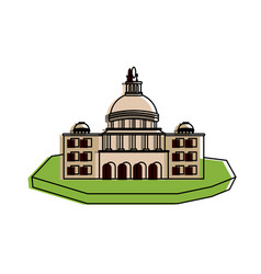 Castle on isolated land icon image vector
