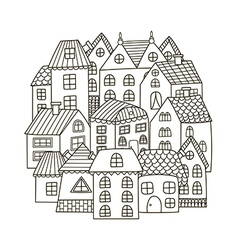 Circle shape pattern with houses for coloring book vector