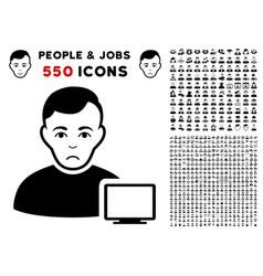 Computer administrator icon with bonus vector