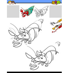Drawing and coloring task with hermit crab vector