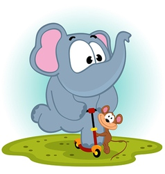 Elephant and mouse on scooter vector