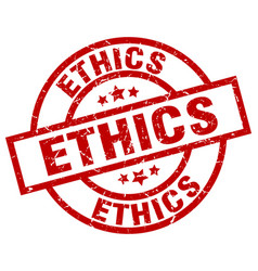 Ethics round red grunge stamp vector