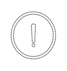 exclamation mark sign black dashed icon vector image