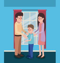 Family members inside the house vector