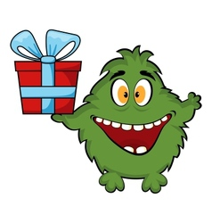 Friendly monster holding a gift box vector