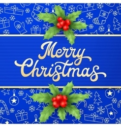 Gold xmas lettering on blue christmas background vector