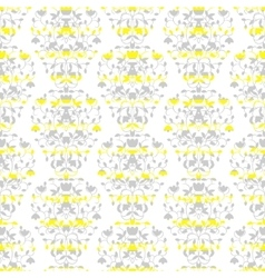 Grey on yellow stripes elegant border in damask vector