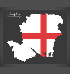 Hampshire map england uk with english national vector