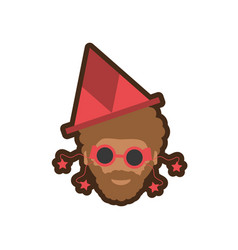 Head man with hat party vector