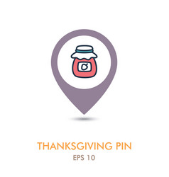 Jam jar mapping pin icon harvest thanksgiving vector