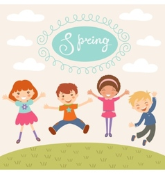Jumping spring kids vector image