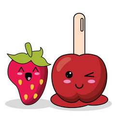 Kawaii candy apple strawberry image vector