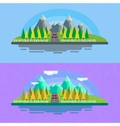 Landscape background road in green valley vector