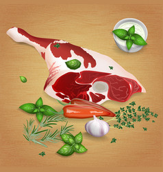 leg of lamb with tasty sauces and spices vector image vector image