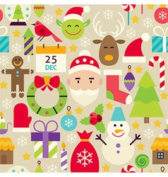 Merry christmas flat design beige seamless pattern vector