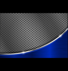 metal perforated background with blue wave steel vector image
