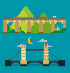 Modern bridge flat pictogram business architecture vector