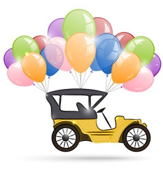 Old car and a bunch of balloons vector