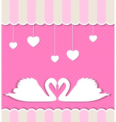 Pink background with two white swans vector image