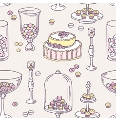 Seamless pattern with hand drawn candy bar objects vector image