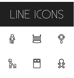 Set of 6 editable kin icons includes symbols such vector