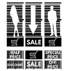 Set of labels for the stock sales on the backgroun vector image