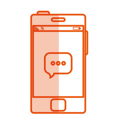 smartphone with speech bubble device isolated icon vector image vector image