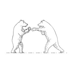 two grizzly bear boxers boxing drawing vector image vector image