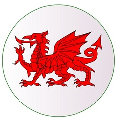 Welsh Dragon Button vector image vector image