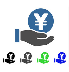 Yen coin payment hand flat icon vector