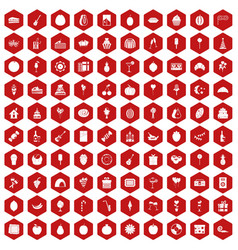 100 fruit party icons hexagon red vector