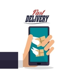 Smartphone wings box package delivery icon vector