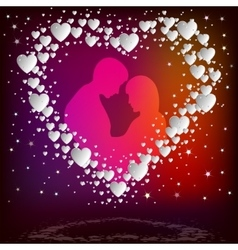 Silhouette of a couple inside white heart vector image