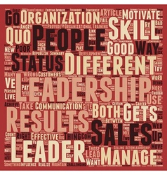 Sales and leadership the differences that matter vector