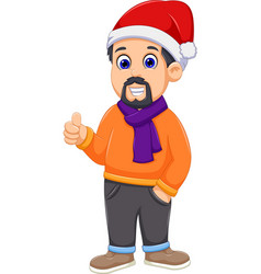 Cute man cartoon wearing winter clothes thumb up vector