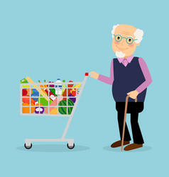 Grandfather with shopping cart with groceries vector