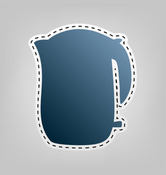 electric kettle sign  blue icon with vector image