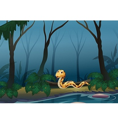 A scary snake in the forest near the pond vector image